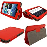 iGadgitz Red 'Portfolio' PU Leather Case Cover for Samsung Galaxy Tab 2 P3100 P3110 7.0 3G & WiFi Android 4.0 Internet Tablet