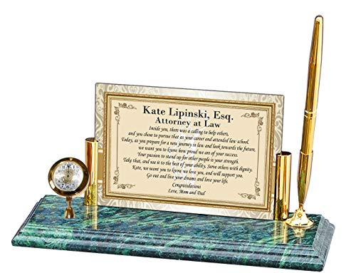 Personalized Poetry Clock Gift for Lawyer or Law School Graduation for Attorney or Passing The Bar Present Mini Desk Table Clock Marble Brass Pen Set School Congratulation Present ()