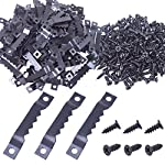 BronaGrand 100pcs Sawtooth Picture Photo Frame Mount Hanging Hangers Double Hole with 200pcs Screws,Black