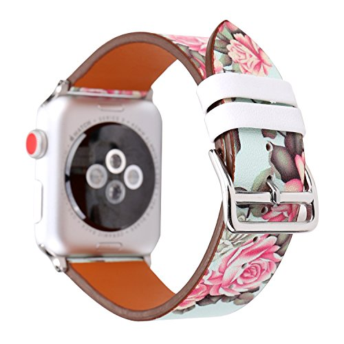 WONMILLE Bands for Apple Watch 42mm, Sequins Floral Printed Leather Replacement Strap Wrist Watch Band for Apple Watch iwatch Series 1 Series 2 Series 3 (Peony Flower 42mm) (Peony Sequins)
