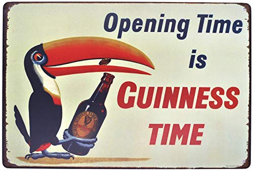 (SUDAGEN Bar Wall Decoration Beer Signs Vintage Opening Time is Guinness Time Metal Signs Bar Cave 12