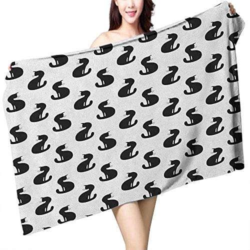 homecoco Absorbent Towel Cat Silhouette of a Kitten Monochrome Feline Pattern House Pet Illustration Halloween W20 xL39 Suitable for bathrooms, Beaches, -