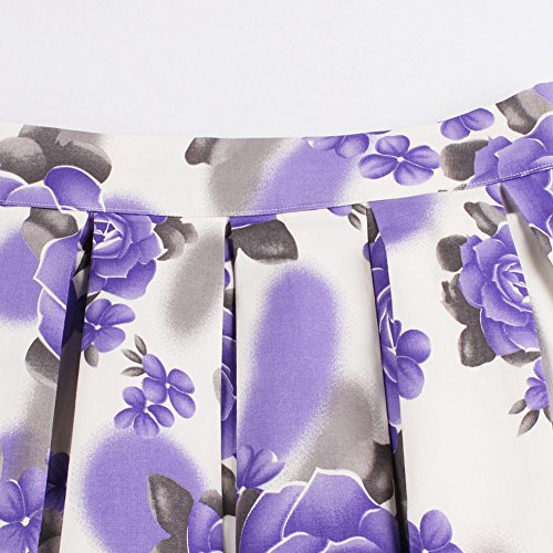 iShine Sra impresión retro vestidos de cintura plisada púrpura