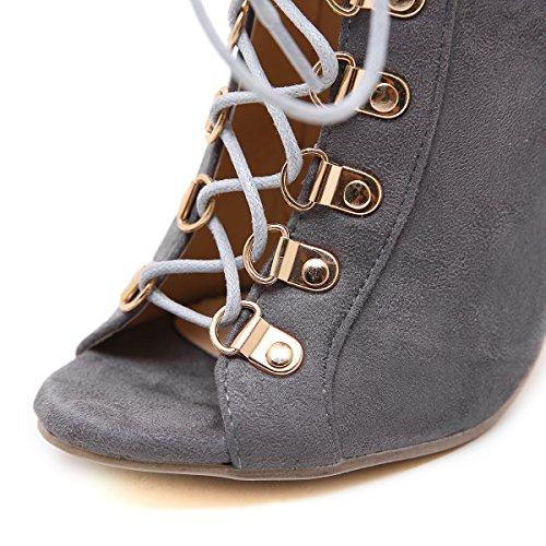 esposta cinghie con ZHZNVX satinato in galvanizzato metallo sandali alto 11cm ed nuova sexy La scarpe alto femmina a gray ammenda con tacco fPw8YP
