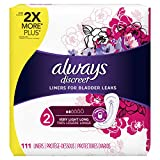 Always Discreet, Incontinence Liners, Very Light, Long Length, 111 Count,Pack of 2