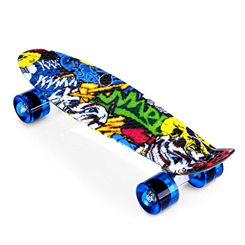 Enkeeo-22-Inch-Cruiser-Skateboard-Plastic-Banana-Board-with-Bendable-Deck-and-Smooth-PU-Casters-for-Kids-Boys-Youths-Beginners-Multiple-Colors