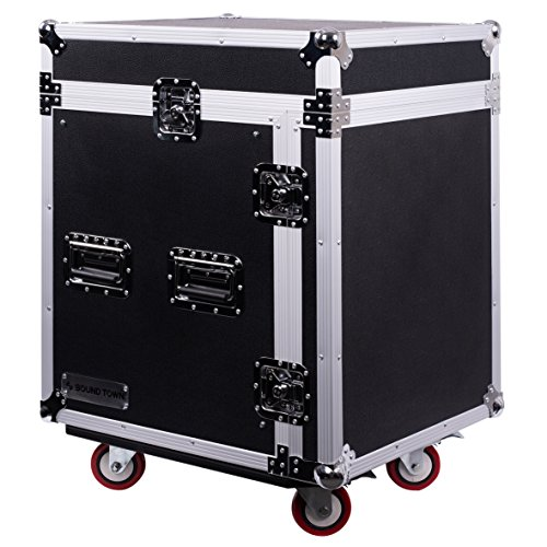 - Sound Town 12-Space PA/DJ Pro Audio Rack/Road Case with Slant Mixer Top (STMR-12UW)
