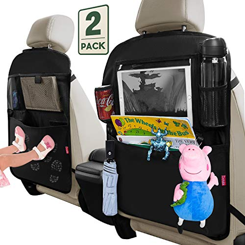 "Dotala Kick Mats with Car Back seat Organizer,XL Storage Pocket - 2 Pack with Clear 11""Tablet Holder - Premium XL Protector for Kids Toy Bottle Drink Vehicles Travel (Black)"