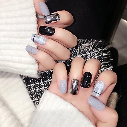 echiq nuevo diseño uñas postizas forma de diamante Espejo falsas uñas Medio rejilla brillante negro gris