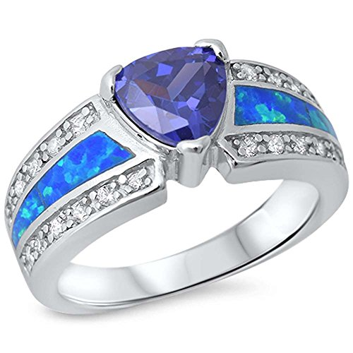 Engagement Wedding Ring Lab Created Blue Opal Simulated Blue Tanzanite Round CZ 925 Sterling Silver ()