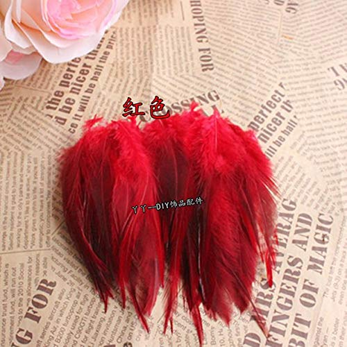 ! Hot Sale 200pcs/lot Color 4-6'' 9-15cm Rooster Saddle Cape Craft Feather for Sinamay hat/Party mask (RED)