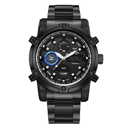 LEAP X PIONEERS Men's Waterproof Sport Dual Watch Backlight Wrist Watch with Stainless Steel Band LPB42 Black LPB49JBBB