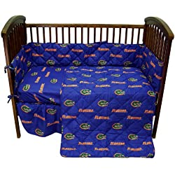 Florida Gators 5 Piece Crib Set - Entire Set includes: (1) Reversible Comforter, (1) Bed Skirt , (2) Fitted Sheets and (1) Bumper Pad - Decorate Your Nursery and Save Big By Bundling!
