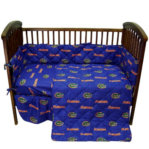 Florida Gators 5 Piece Crib Set - Entire Set includes: (1) Reversible Comforter, (1) Bed Skirt , (2) Fitted Sheets and (1) Bumper Pad - Decorate Your Nursery and Save -