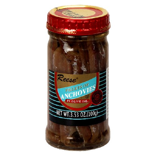 Reese Flat Anchovies in Glass, 3.53-Ounce Jars (Pack of 6) by Reese