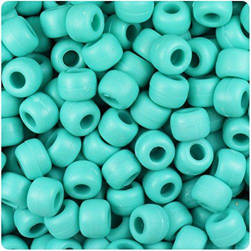 - BeadTin Light Turquoise Matte 9mm Barrel Pony Beads (500pcs)