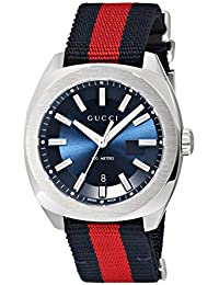 Swiss Quartz Stainless Steel and Nylon Dress Blue and Red Men's Watch(Model: YA142304)