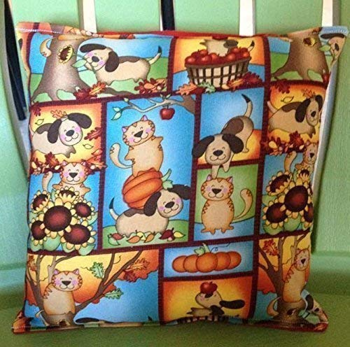 Harvest Cat & Dog Pillow Dogs and Cats Pillow 10 inches by 11 inches Handmade Hypoallergenic Cotton with Flannel Backing Ideal for Gift and Multiple Uses ()