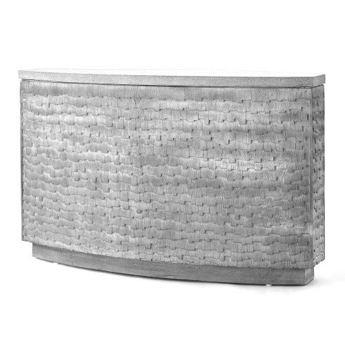 Global Views Luxe Modern Gray Wood Shingles Console Table | Terrazzo Top Mid Century Mosaic