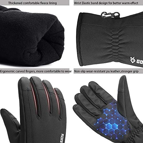 Mens Winter Gloves -30℉Windproof Waterproof Warm Touch Screen Gloves for Outdoor Work Cycling (Medium)
