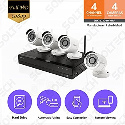 b9d82fc93cc Samsung Wisenet SNK-B73040BW 4 Channel 1080p Full HD NVR Video Security  System with 1TB