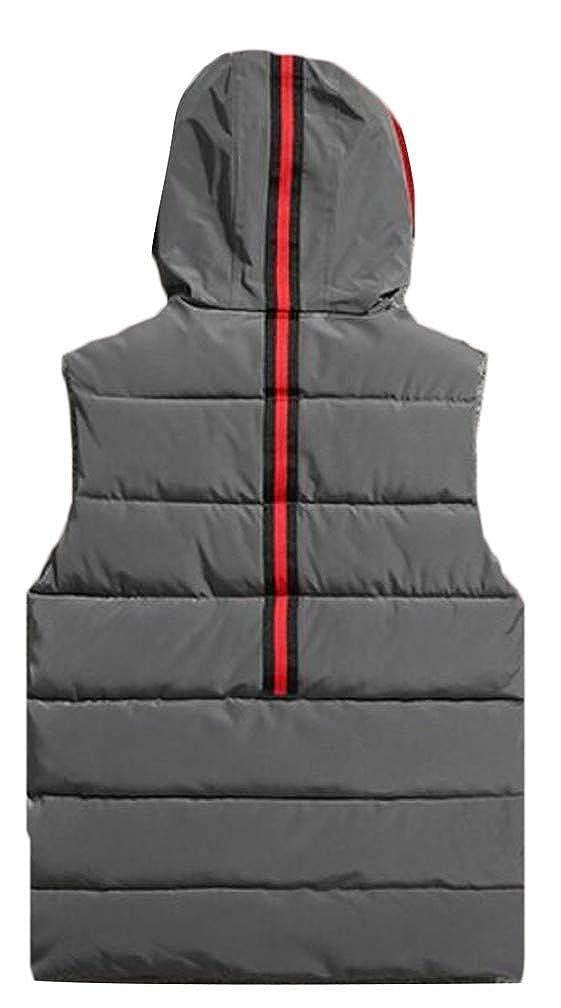 Sweatwater Mens Hoodid Sleeveless Pocket Thicken Vogue Zip Quilted Jacket Down Vest