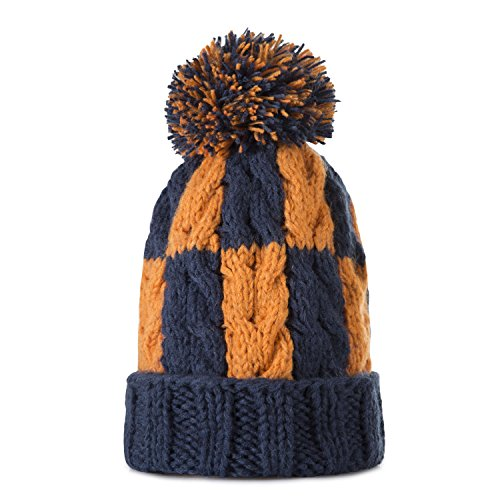 Kids Winter Warm Fleece Lined Hat, Baby Toddler Children's Beanie Pom Pom Knit Cap for Girls and Boys by REDESS (Mix Two Color-Navy & - For Orange Mix Color