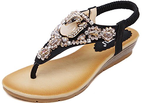 Thong Summer Flops Toe Black8 Womens Ladies Sandals Casual Shoes Flip Post Flats KUFV Eqtfxz