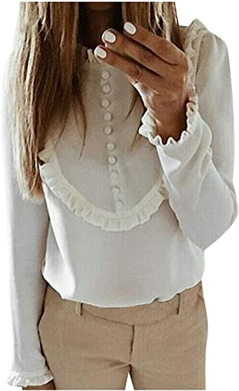 Miuye yuren Womens Winter Elegant Warm Pullovers Fashion Long Lotus Sleeve Tops Blouses