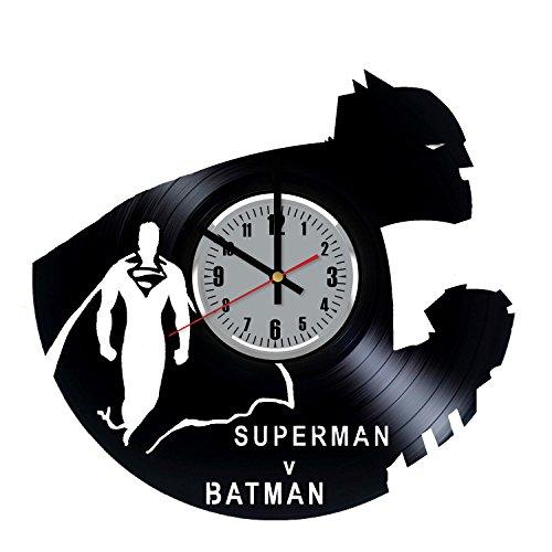 FainoUA Batman vs Superman DC Comics Vinyl Record Wall Clock, Dawn of Justice Art Handmade Decoration, Best Original Birthday Christmas Wedding Gift, Vintage Modern Decor