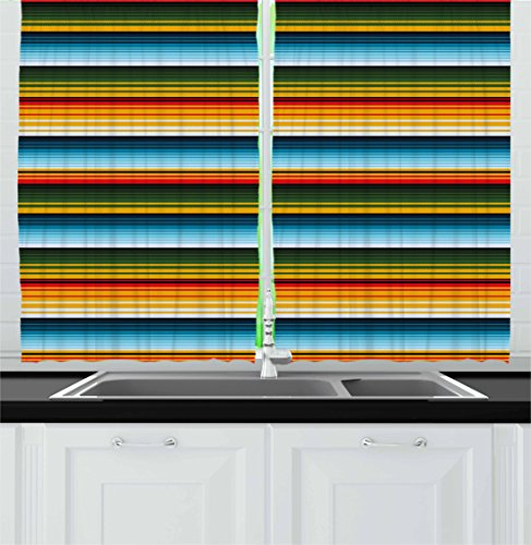 Bedroom Furniture Mexican (Lunarable Striped Kitchen Curtains, Mexican Inspirations in Hand Made Horizontal Lines with Woven Ornamental Style, Window Drapes 2 Panel Set for Kitchen Cafe, 55 W X 39 L Inches, Multicolor)