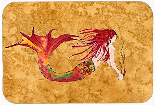 multicolor Caroline/'s Treasures 8727JCMT Ginger Red Headed Mermaid on Gold Kitchen or Bath Mat 24x36 Carolines Treasures 8727JCMT Ginger Red Headed Mermaid on Gold Kitchen or Bath Mat 24x36 24H X 36W