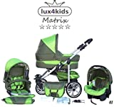 Chilly Kids Matrix II Kinderwagen Komplettset (Autositz & Adapter, Regenschutz, Moskitonetz,...