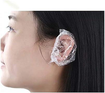 Ba/ño Outus 100 Piezas Protector de Oreja Desechable Transparente Impermeable Cubierta de O/ído para Tinte de Pelo Ducha