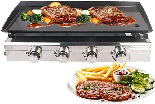 Plancha de Barbacoa de Gas Plancha Grill 4 quemadores LPG Steak Machine CE 84x34cm Placa de cocción de Hierro Fundido Parrilla al Aire Libre Uso Comercial y de jardín: Amazon.es: Hogar