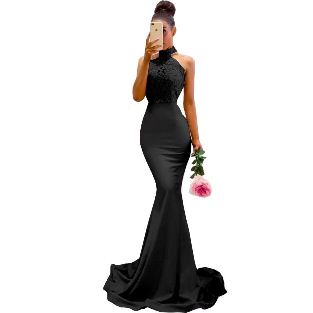 Black XKYU Women's Lace Halter Mermaid Prom Bridesmaid Dress,Long Formal Evening Party Gowns