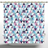 Navy and Pink Shower Curtain Fashionable Shower Curtain by iPrint,Diamonds Triangle Abstract Pattern and Geometric Fashion Stylish Print,Pink Navy Blue Purple White,Polyester Fabric Bathroom Accessories Home Decoration with Hooks