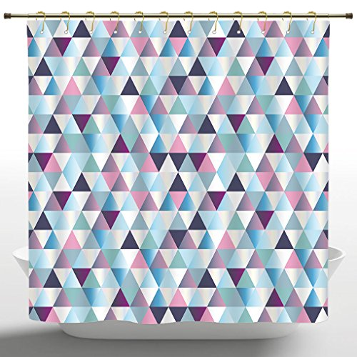 Fashionable Shower Curtain by iPrint,Diamonds Triangle Abstract Pattern and Geometric Fashion Stylish Print,Pink Navy Blue Purple White,Polyester Fabric Bathroom Accessories Home Decoration with ()