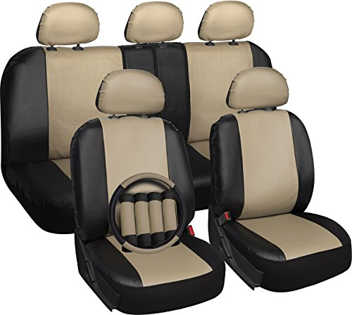 OxGord 17pc PU Leather Tan/ Black Car Seat Cover Set - Airbag - Front Low Back Buckets - Universal Fit for Car, Truck, SUV, Van - Steering Wheel Cover