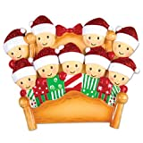 PERSONALIZED CHRISTMAS ORNAMENTS FAMILY SERIES- BED FAMILY OF 9