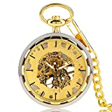 Luxury Pocket Watch Skeleton Steampunk Mechanical Hand Wind Pocket Watch, Best Gift for Men