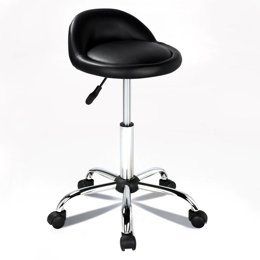 New Rolling Hydraulic Bar Stool Salon Barber Chair Spa Stool Pedicure / Manicure Nail Technician Massage Equipment | Black by Eosphorus (Image #1)