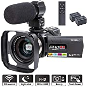 #LightningDeal Camcorder Video Camera YEEHAO WiFi HD 1080P 24MP 16X Powerful Digital Zoom Camera with Microphone and Wide Angle Lens Remote Control Lens Hood Infrared Night Vision YouTube Vlogging Camera Recorder