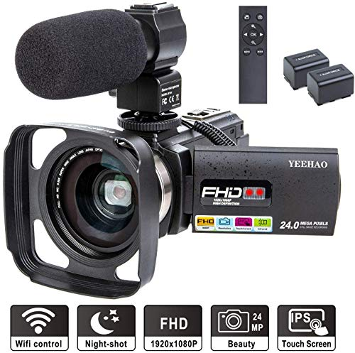 Camcorder Video Camera YEEHAO WiFi HD 1080P 24MP 16X Powerful Digital Zoom Camera with Microphone and Wide Angle Lens Remote Control Lens Hood Infrared Night Vision YouTube Vlogging Camera Recorder