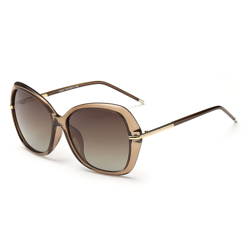 DONNA Women's Classic Oversized Polarized Sunglasses Super Big Circle Shades Ultralight D72(Brown)