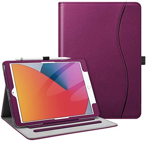 Fintie Case for iPad 10.2 Inch - [Corner Protection] Multi-Angle Viewing Folio Stand Cover with Pocket, Pencil Holder, Auto Wake/Sleep for iPad eighth / seventh Generation, Purple