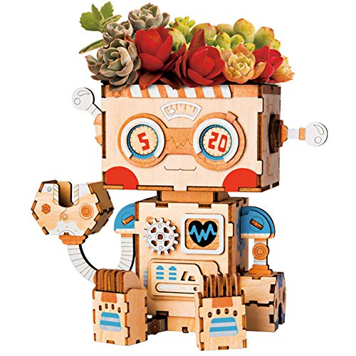 Rolife DIY Wooden Flower Pot Robot Building Kits Toy for Kids and Adults