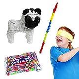 Pug Dog Pinata Kit Including Pinata, 3 lb Candy Filler, Buster Stick and Bandana, 20''