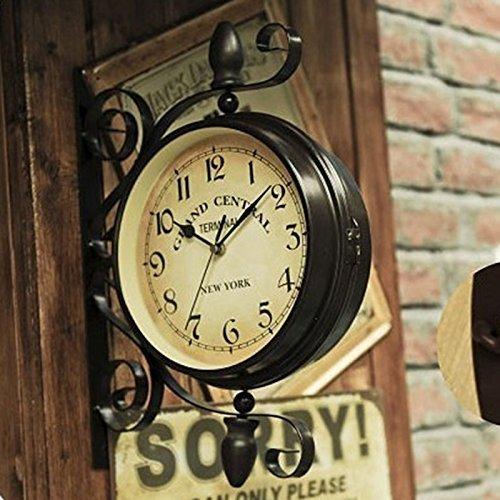 おしゃれ ! 両面 壁掛け時計 レトロ アンティーク 風 ヨーロピアン 北欧 スタイル インテリア 雑貨 時計 (M) B01MS1OFKF Medium|D D Medium