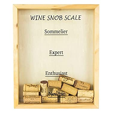 Wooden, Wall-Mounted Wine Cork Holder - Wine Snob Scale in Black Text